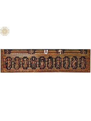 Dashavatara Panel: Ten Incarnations of Vishnu (From Left - Matshya, Kurma, Varaha, Narasimha, Vaman, Parashurama, Rama, Balarama, Krishna and Kalki)