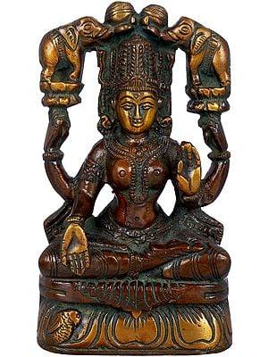 Two Auspicious Elephants Pour the Waters of Fertility Over Lakshmi (Gajalakshmi)