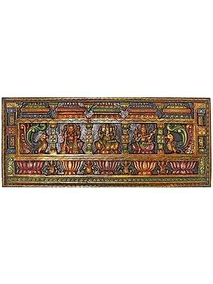 Large Size Panel of Lakshmi Ganesha and Saraswati