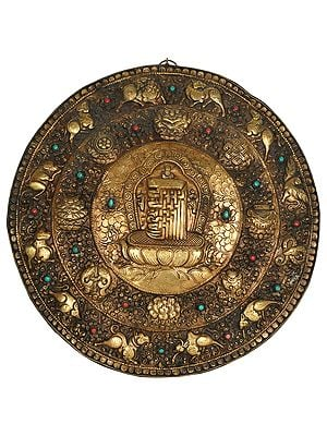 The Ten Syllables of the Kalachakra Mantra Wall Hanging Plate with Ashtamangala Symbols and Animals of Tibetan Astrological Calendar (Made in Nepal)