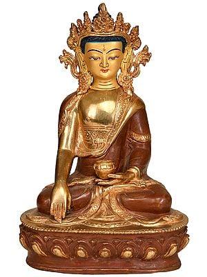 Tibetan Buddhist Deity Crowned Buddha in Bhumisparsha Mudra