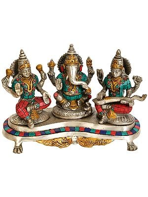 Three Auspicious Deities - Lakshmi Ganesha and Saraswati