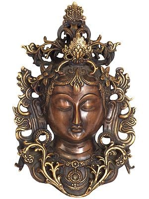 Devi Tara Wall-Hanging Mask, Gold Vines Spread Around Her Bust