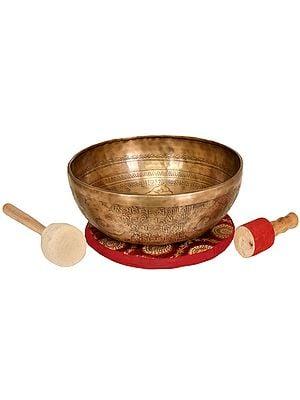 Tibetan Buddhist Singing Bowl with Image of Medicine Buddha