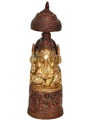 Raja Ganesha with Gaja Lakshmi Carved in Pedestal