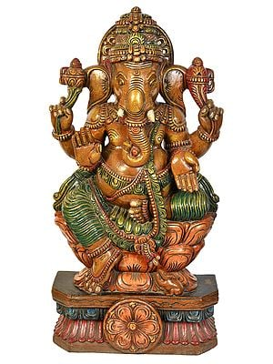 Lord Ganesha Seated on Lotus Seat