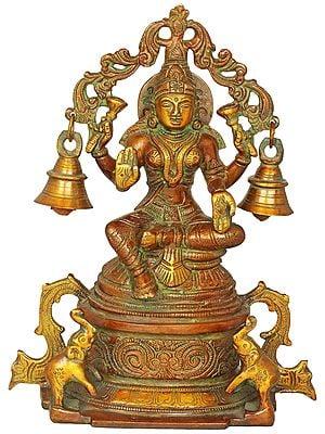 Goddess Lakshmi Seated on High Pedestal with Hanging Bells