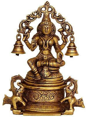 Goddess Lakshmi Seated on High Pedestal with Hanging Bells