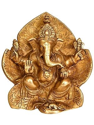 Lord Ganesha Seated on Flower Couch