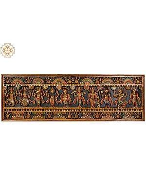 Dashavatara South Indian Temple Panel (From the Left - Matshya, Kurma, Varaha, Narasimha, Vaman, Balarama, Rama, Parashurama, Krishna, Kalki)