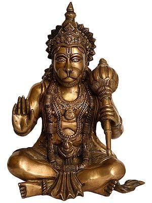 Hanuman in Yogasana and Abhaya Granting Mudra
