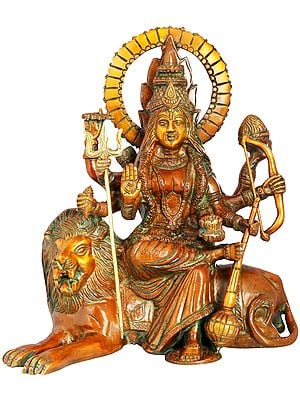 Ashtabhuja Simhavahini Durga Seated on Lion