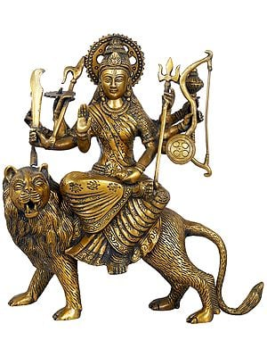 Mother Goddess Durga in Brown and Golden Hues