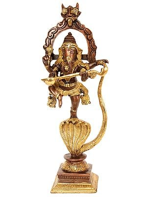 Lord Ganesha Dancing on Five-Hooded Serpent with Veena