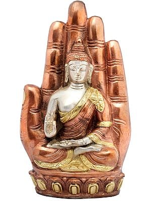 Lord Buddha Seated on Lotus against the Aureole of a Hand Interpreting His Dharma
