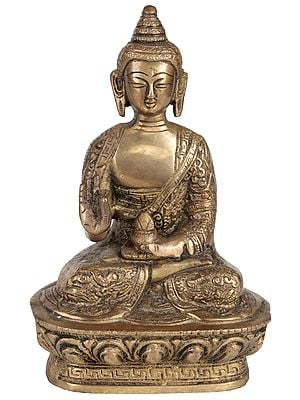 Shakyamuni Buddha Granting Abhaya to His Devotees (Robes Decorated with Auspicious Symbols)
