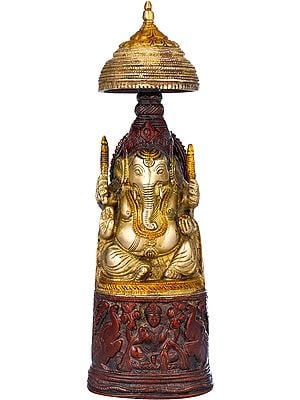 The King Ganesha with Lakshmi Ji Carved in Pedestal