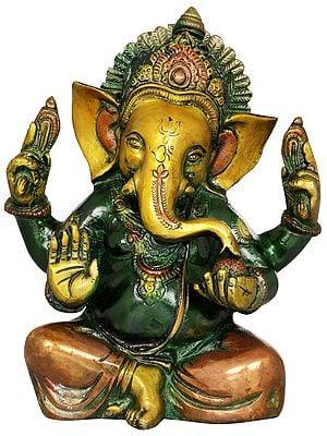 Lord Ganesha Enjoying Modak