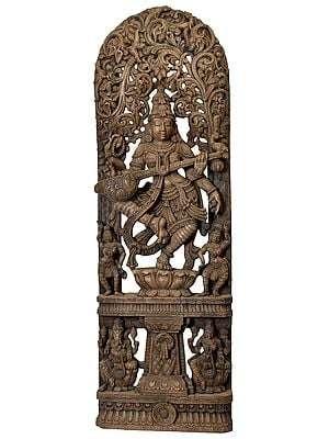 Dancing Goddess Saraswati with Vegetative Arched-Shaped Aureole and Ganesha Lakshmi on Base