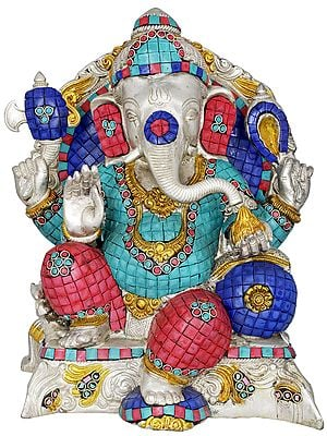 Lord Ganesha Seated in Royal Ease Posture (with Inlay Work)