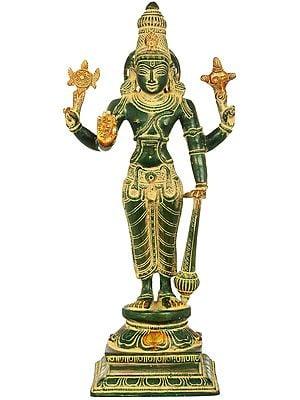 "12"" Lord Vishnu   Handmade   Brass Statue   Made In India"