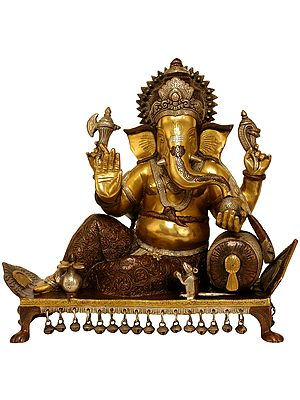 Lord Ganesha Seated on Chowki