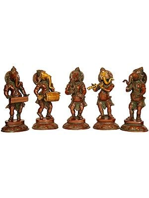 Set of Five Musical Ganeshas