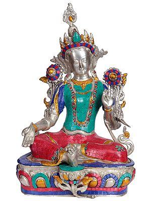Tibetan Buddhist Saviour Goddess Green Tara  (Inlay Statue)
