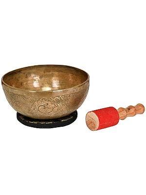 Tibetan Buddhist Ritual Singing Bowl with Syllable Mantra