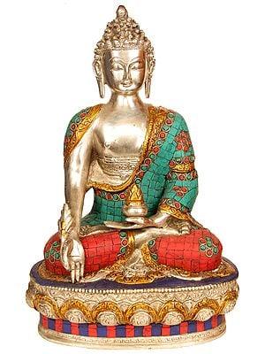 The Medicine Buddha  (Tibetan Buddhist Inlay Statue)