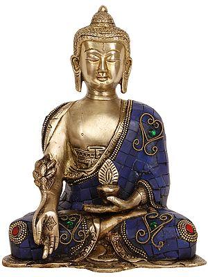 Tibetan Buddhist Deity: Lapis Buddha of Healing - The Medicine Buddha (Inlay Statue)