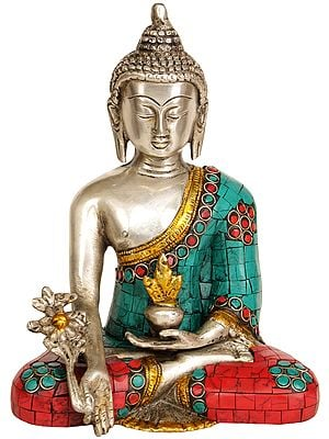 The Medicine Buddha (Inlay Tibetan Buddhist Statue)