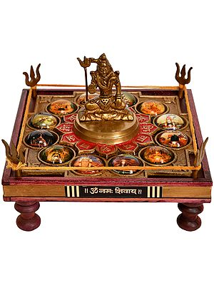Pedestal for Worshipping Bhagwan Shiva with Images of 12 Jyoti Lingas
