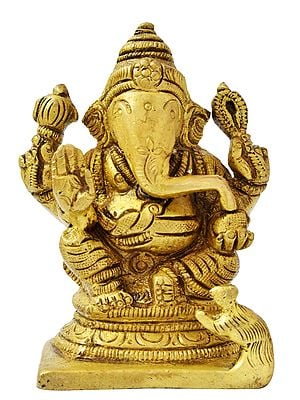 Four Armed Seated Ganesha (Small Statue)