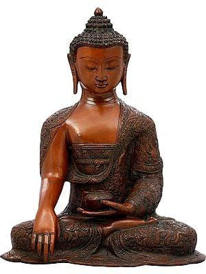 Shakyamuni Buddha, Ashtamangalas On His Lifelike Drape