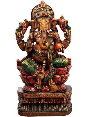 Ganesha In Lalitasana Upon A Rubescent Lotus