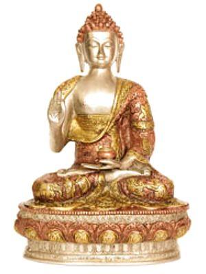 Buddha Seated On An Ornate Pedestal