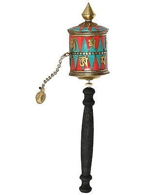 Handheld Prayer Wheel from Nepal (Tibetan Buddhist)