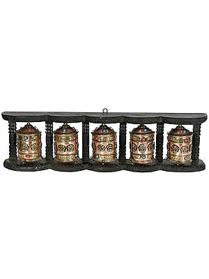 Made in Nepal Five Monastery Prayer Wheels in One Stand (Tibetan Buddhist)