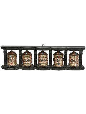Made in Nepal Five Monastery Prayer Wheels in One Stand (Tibetan Buddhist)