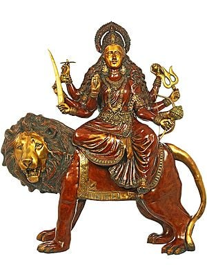 Large Size Ashtabhuja-dhari Durga on Her Mount Lion