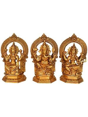 Lakshmi Ganesha Saraswati - Set of Three Statues