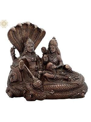 Lord Vishnu and Goddess Lakshmi Seated on Sheshnag