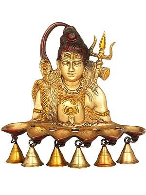 Six Wicks Shiva Puja Lamp with Bells (Wall Hanging)