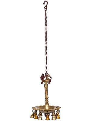 Peacock Puja Lamp with Bells