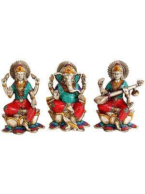 Lakshmi Ganesha Saraswati - Set of Three Statues