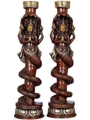 Pair of Naga Kanya Candle Stands
