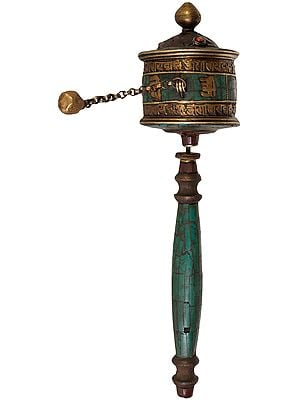 Tibetan Buddhist Prayer Wheel with Two Layer Om Mani Padme Hum