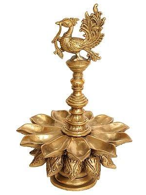 Peacock Lamp with Lotus Petal Diyas