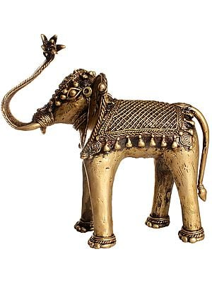 Elephant with a Lotus Flower for Offering (Tribal Statue)